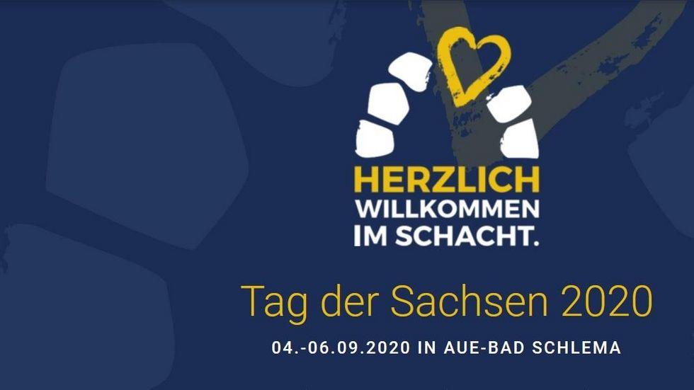 Das war das Logo zum Tag der Sachsen 2020 in Aue. Das Fest fällt wegen Corona dieses Jahr aus. Logo: Stadt Aue-Bad Schlema.