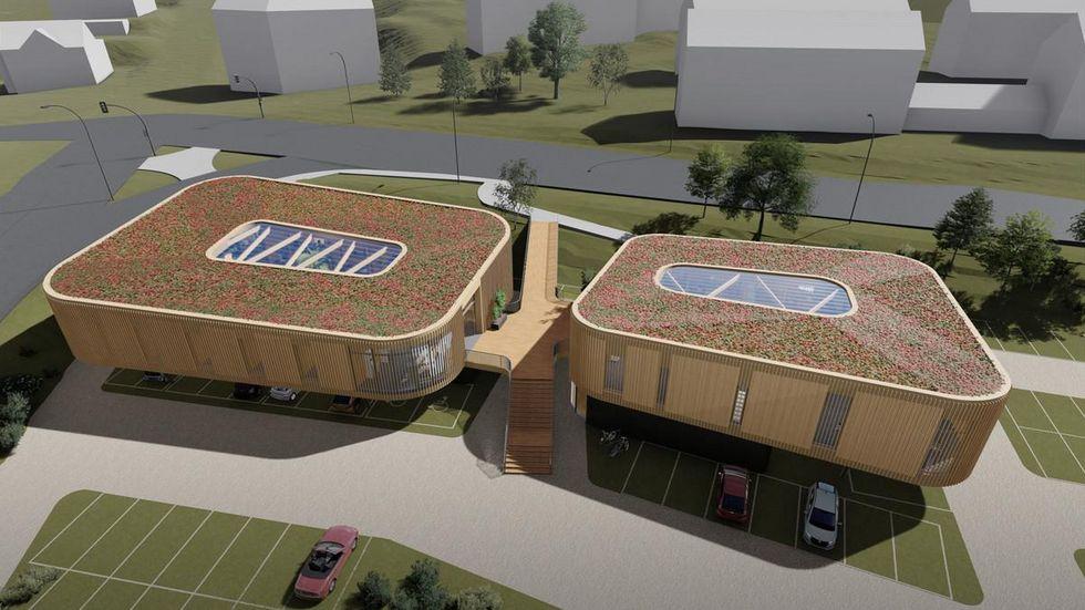 So soll der Gebäudekomplex gegenüber vom Stadion einmal aussehen.