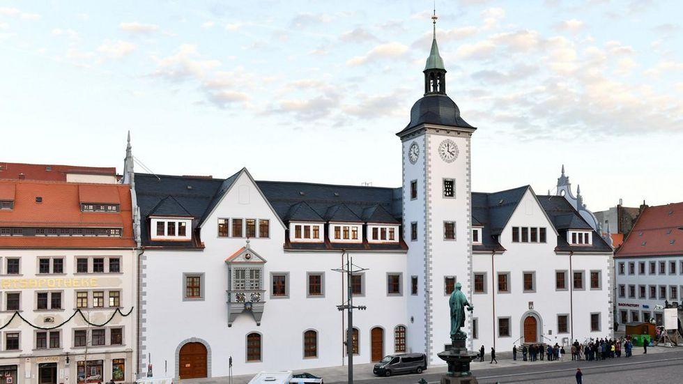 Das Rathaus in Freiberg.